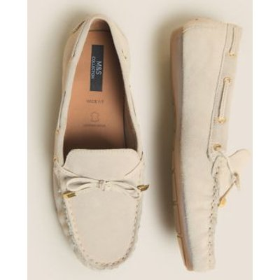 M&S Womens Wide Fit Suede Bow Trim Boat Shoes - 6 - Stone, Stone,Navy
