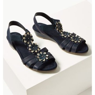 M&S Womens Wide Fit Leather Flower Sandals - 3.5 - Navy, Navy,Tan,Alabaster