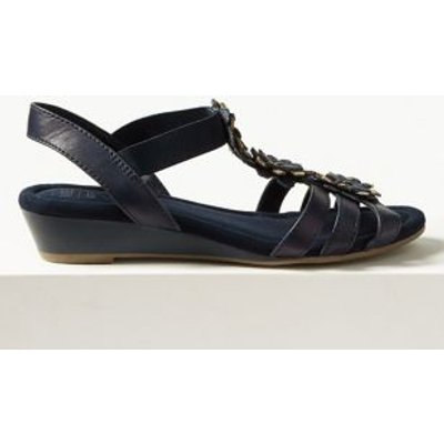 M&S Womens Wide Fit Leather Flower Sandals - 3.5 - Navy, Navy,Tan,Moonstone