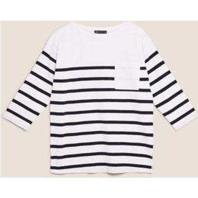 M&S Womens Pure Cotton Striped 3/4 Sleeve Tunic - 6 - White Mix, White Mix,Green Mix
