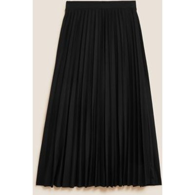 M&S Womens Jersey Pleated Midi Skirt - 6LNG - Black, Black