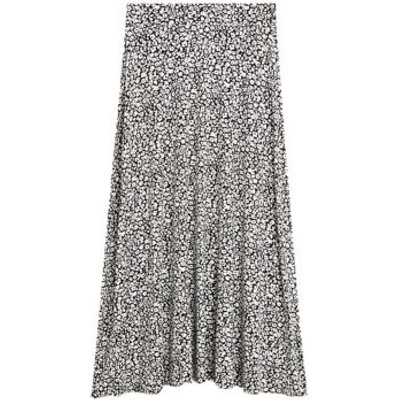 M&S Womens Jersey Animal Print Circle Midi Skirt - 8REG - Black Mix, Black Mix