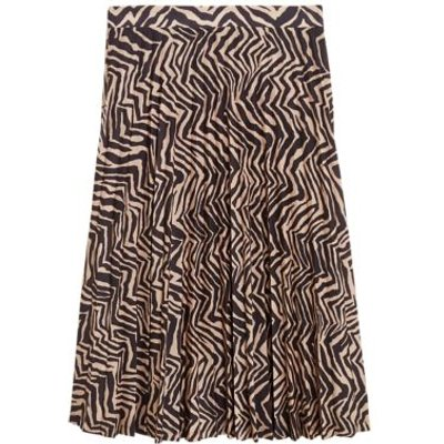 M&S Womens Jersey Zebra Print Pleated Midi Skirt - 8REG - Black Mix, Black Mix