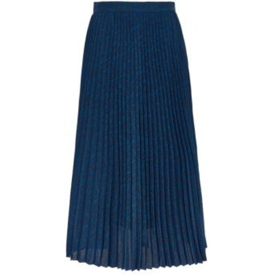 M&S Womens Leaf Print Pleated Midi Skirt - 8REG - Blue Mix, Blue Mix