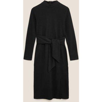M&S Womens Jersey Brushed Belted Midi Shift Dress - 6REG - Black, Black,Camel