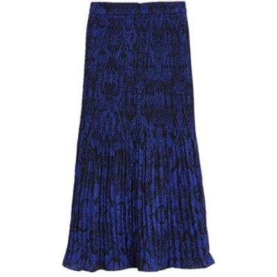 M&S Womens Snake Print Plisse Midi Straight Skirt - 6REG - Blue Mix, Blue Mix
