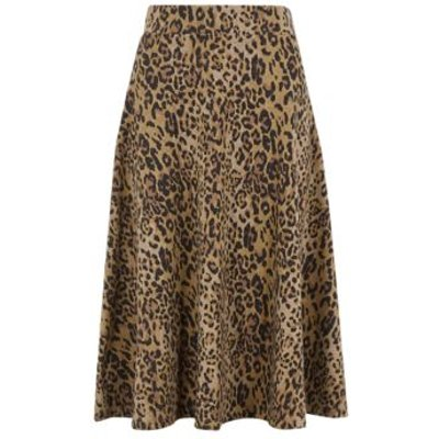 M&S Womens Cotton Jersey Animal Print Midi Skirt - 22LNG - Natural Mix, Natural Mix