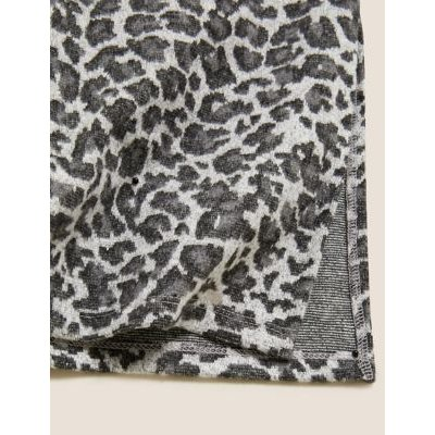 M&S Womens Animal Print Midi Straight Skirt - 6REG - Grey Mix, Grey Mix