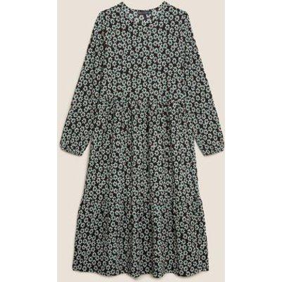 M&S Womens Jersey Floral Midi Tiered Dress - 6LNG - Black Mix, Black Mix