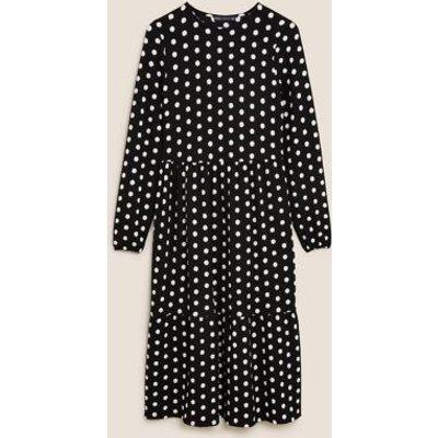 M&S Womens Jersey Polka Dot Midi Tiered Dress - 8REG - Black Mix, Black Mix
