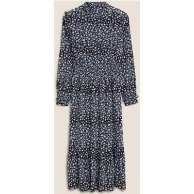 M&S Womens Ditsy Floral Frill Detail Tiered Dress - 8LNG - Navy Mix, Navy Mix