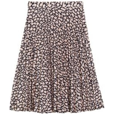 M&S Womens Jersey Animal Print Pleated Skirt - 6LNG - Pink Mix, Pink Mix
