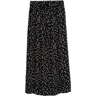 M&S Womens Heart Print Split Front Midi Straight Skirt - 8LNG - Black Mix, Black Mix