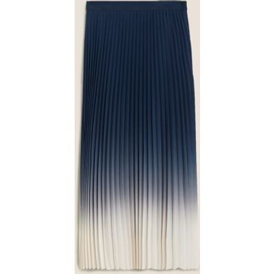 M&S Womens Pleated Midi A-Line Skirt - 6REG - Navy Mix, Navy Mix