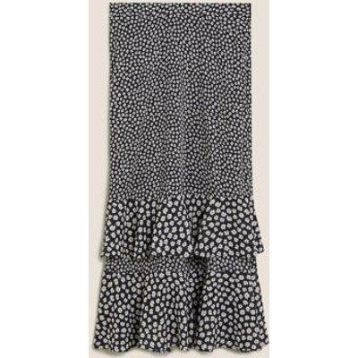 M&S Womens Ditsy Floral Ruffle Midi Tiered Skirt - 8LNG - Black Mix, Black Mix