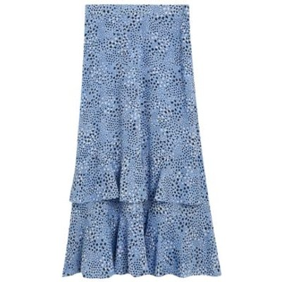 M&S Womens Star Print Ruffle Midi Tiered Skirt - 8LNG - Medium Blue Mix, Medium Blue Mix