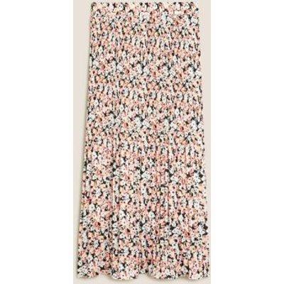M&S Womens Floral Plisse Midi Straight Skirt - 6REG - Pink Mix, Pink Mix