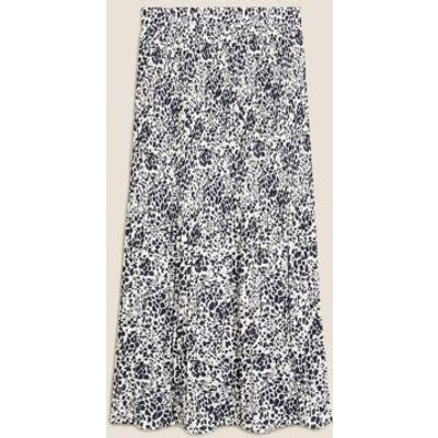 M&S Womens Printed Plisse Midi Straight Skirt - 6LNG - Ivory Mix, Ivory Mix