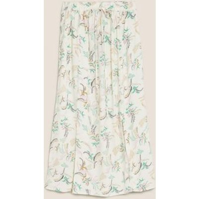 M&S Womens Printed Midi Straight Skirt - 6REG - Ivory Mix, Ivory Mix,Dark Green Mix