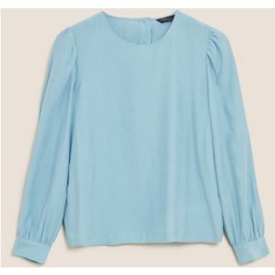 M&S Womens Round Neck Long Sleeve Blouse - 6 - Teal, Teal,Black