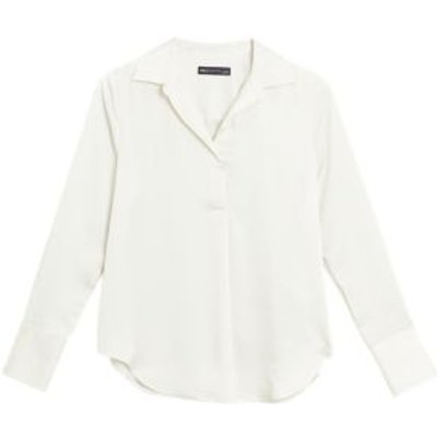 M&S Womens Satin Collared V-Neck Long Sleeve Blouse - 6 - Ivory, Ivory