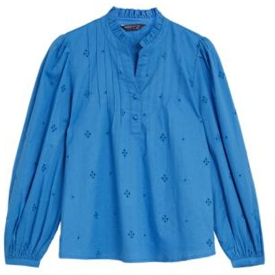 M&S Womens Pure Cotton Broderie Long Sleeve Blouse - 6 - Blue, Blue,Ivory