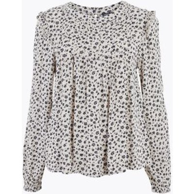 M&S Womens Ditsy Floral Pintuck Long Sleeve Blouse - 6 - Neutral, Neutral,Navy Mix