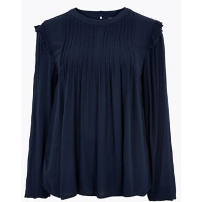 M&S Womens Pintuck Long Sleeve Blouse - 8 - Navy, Navy,Ivory