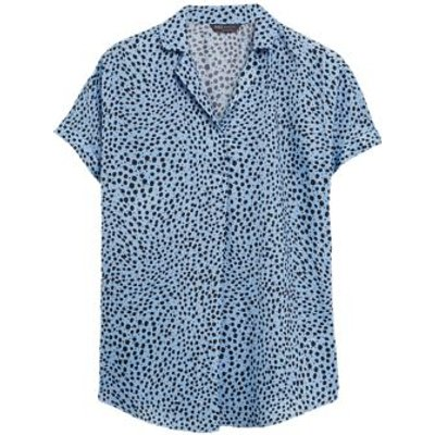 M&S Womens Printed Collared Short Sleeve Tunic - 6 - Blue Mix, Blue Mix