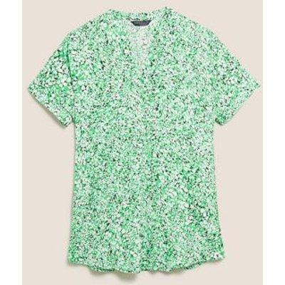 M&S Womens Printed V-Neck Short Sleeve Tunic - 8 - Green Mix, Green Mix,Navy Mix