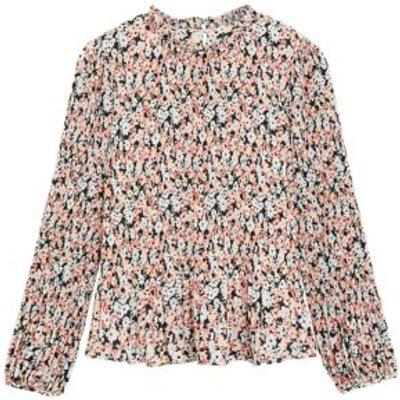 M&S Womens Floral Plisse Long Sleeve Blouse - 16 - Multi, Multi