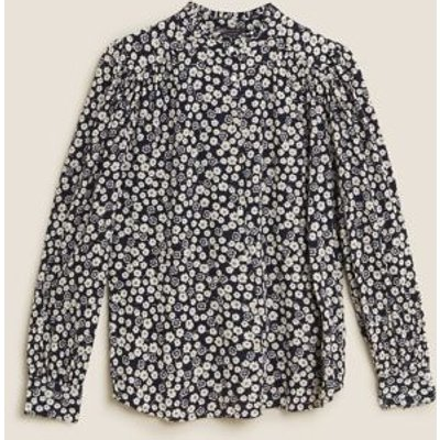 M&S Womens Cotton Ditsy Floral Puff Long Sleeve Blouse - 8 - Blue Mix, Blue Mix