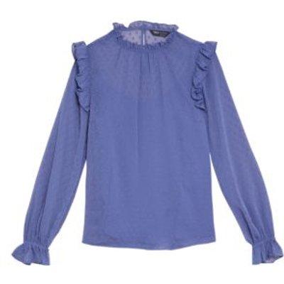 M&S Womens High Neck Frill Detail Long Sleeve Blouse - 8 - Hyacinth, Hyacinth