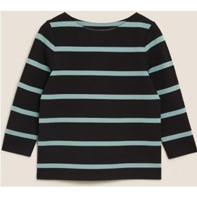 M&S Womens Jersey Striped Crew Neck 3/4 Sleeve Top - 8 - Black Mix, Black Mix,Navy Mix
