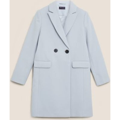 M&S Womens Soft Touch Double Breasted City Overcoat - 8 - Metallic, Metallic,Dark Turquoise