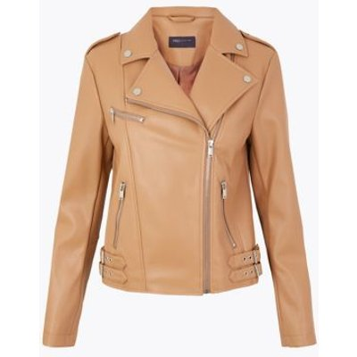 M&S Womens Faux Leather Biker Jacket - 6 - Dark Camel, Dark Camel,Black,Neutral