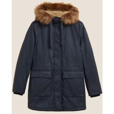 M&S Womens Waxed Faux Fur Lined Parka Coat - 8 - Navy, Navy,Dark Khaki