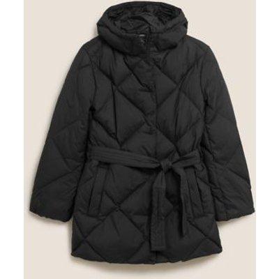 M&S Womens Feather & Down Belted Puffer Coat - 8 - Black, Black,Dark Khaki