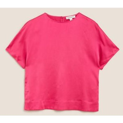 M&S Autograph Womens Pure Silk Relaxed Fit Blouse - 8 - Raspberry, Raspberry