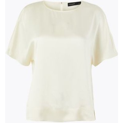 M&S Autograph Womens Pure Silk Relaxed Fit Blouse - 8 - Cream, Cream