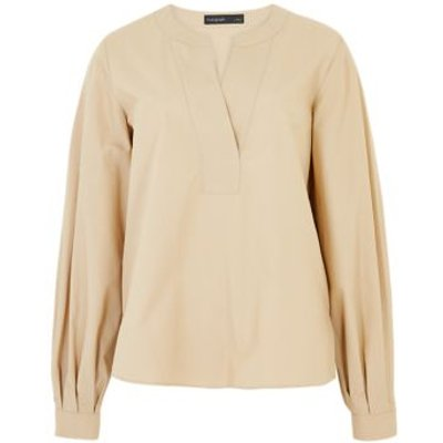 M&S Autograph Womens Pure Cotton V-Neck Long Sleeve Blouse - 8 - Buff, Buff