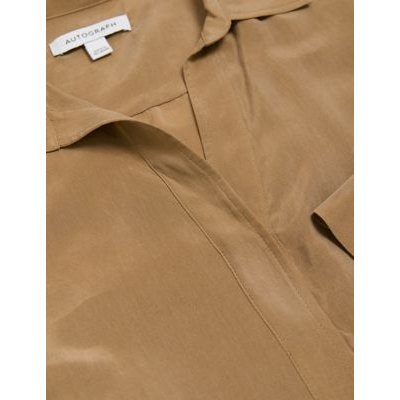 M&S Autograph Womens Collared Relaxed Longline Popover Blouse - 16 - Spice, Spice