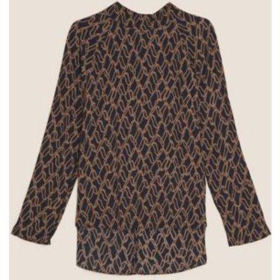 M&S Autograph Womens Printed High Neck Long Sleeve Blouse - 8 - Black Mix, Black Mix