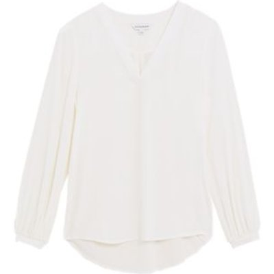 M&S Autograph Womens Pure Silk V-Neck Popover Blouse - 6 - Ivory, Ivory,Flame
