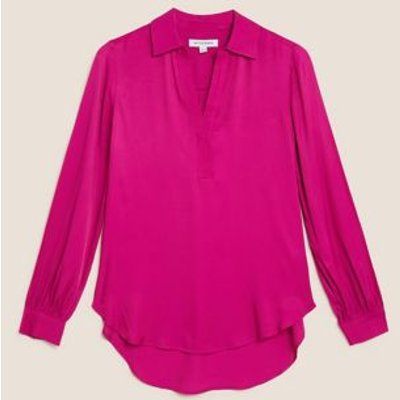 M&S Autograph Womens Satin Collared Long Sleeve Popover Blouse - 8 - Dark Pink, Dark Pink