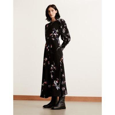 M&S Autograph Womens Floral Blouson Sleeve Maxi Waisted Dress - 8 - Black Mix, Black Mix