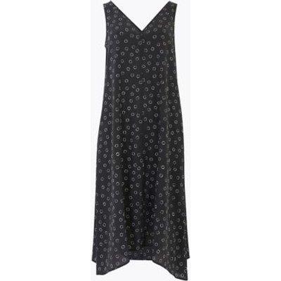 M&S Autograph Womens Pure Silk Printed V-Neck Midi Shift Dress - 8REG - Black Mix, Black Mix
