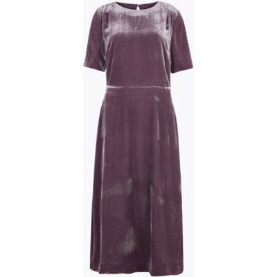 M&S Autograph Womens Velvet Midi Waisted Dress with Silk - 8 - Plum, Plum
