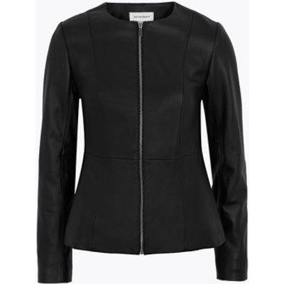 M&S Autograph Womens Leather Collarless Jacket - 8 - Black, Black