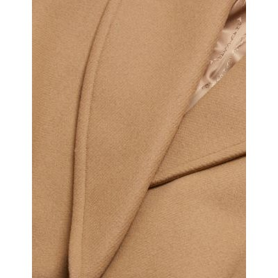 M&S Autograph Womens Wool Belted Longline Wrap Coat - 6 - Camel, Camel